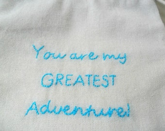 Embroidery Quotes Cotton Anniversary Gift For Him - Her / Message in a Bag  Personalized Gift / Valentine's Fabric gift bag  Drawstring bag