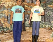 K3PC-15) Ken doll clothes, 1 pants and 2 printed T-shirts