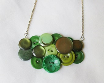 Green Button Bib Necklace. Ombre Verdant Forest Lime Peridot. Jewellery Jewelry Olivine Emerald Kelly. Two Cheeky Monkeys dspdavey Silver