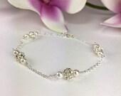 Fireball Bracelet Rhinestone Ball Bracelet Sterling Silver Crystal Pearl Bling Bracelet Bridesmaid Bracelet Prom Bracelet Gift Samantha