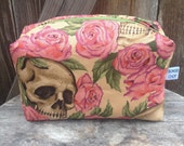 Skull and Roses Zipper Pouch