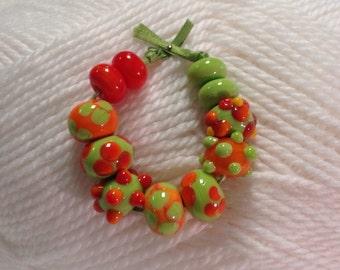 Pumpkin Orange and Green Handmade Lampwork Beads
