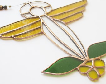 Stained Glass Suncatcher, Garden Angel, Yellow Flower, Garden Spirit, Religious Art, Angel Halo, Angel Wings, Spiritual Art, Garden Fairy