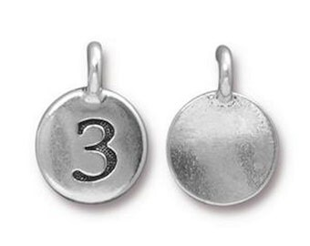 TierraCast Charm, Number 3, in Antique Silver and Antique Gold Plated Pewter, Height 16.6mm Width 11.6mm, Made in the USA