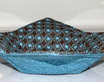 Reversible Bowl Cozy, Microwave Pot Holder, Brown and Turquoise