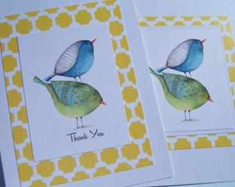 Thank You Cards - Bird Note Cards - Shower Thank You Cards - Wedding Gift Thank You Cards - Hosstess Gits - Blue Green Birds -  bnc1