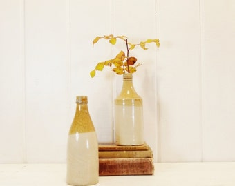 Vintage Stoneware Bottles Pair of Ginger Beer Two Toned Bottles