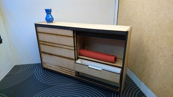 miniature wooden modern low wardrobe, 1/12 scale for dollhouses