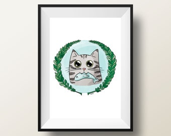 5z7 Hungry cat Print