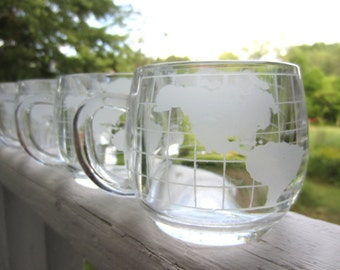 Vintage Nestle Globe Glass Mug World In Your Hands -