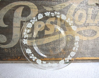 Vintage White Gooseberry Glass Dessert Plates Set of 4