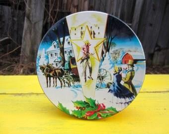 Vintage Fruit Cake Tin Cowboy Snow Scene Collin Street Bakery