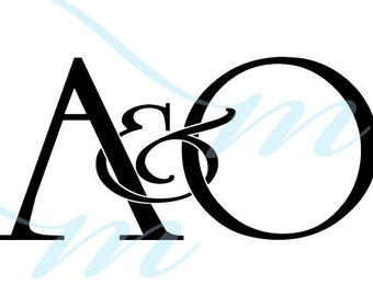 Intertwining Ampersand Monogram - A&O (instant download - JPG, PSD, PDF)