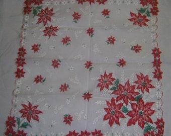 VINTAGE HANKIE -  Christmas Poinsettias
