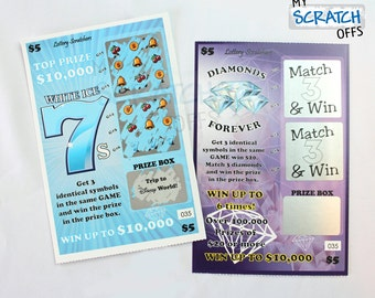 Scratch Off Lotto Replica (1 card) Personalized Scratch-Off Game Card with Custom Message