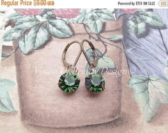 ON SALE CIJ Estate Style Swarovski Tourmaline Green Drop Earrings