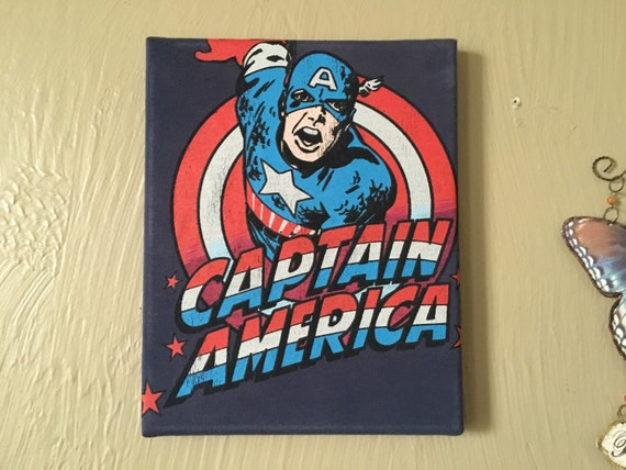 Upcycled captain america wall art canvas 8x10 by ladyllew Captain america wall decor
