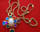 """20% off sale STUNNING Vintage 30"""" gold tone rope necklace with 3.75"""" Maltese Cross with rhinestones pendant in great condition"""