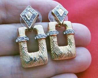 """High end and beautifully made Vintage 1.5"""" gold tone and rhinestone pierced earrings in great condition, appears unworn"""