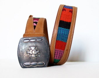 Southwestern Leather Belt Vintage 80s Colorful Large Silver Buckle Boho Hippie Tan Italian Leather Belt - Small to Medium S M