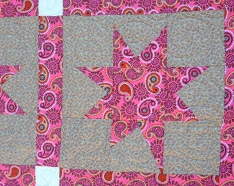 Pink Stars Handmade Quilt
