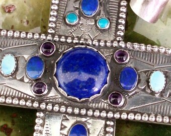Lapis Cross One of a Kind Southwestern Hand Stamped Silver