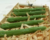 Natural Sealing Wax 5 sticks Green color with wick Traditional mold - for stamps, non-toxic, plastic-free, gift wrapped