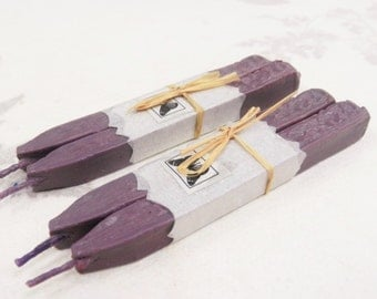 Natural Sealing  Wax  4 sticks LAVENDER color seal wax for stamps with wick Traditional mold,  plastic - free, non toxic