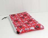 Red cats zipper pouch, flat pouch, makeup bag, small cosmetics bag, card cash wallet, coupon envelope, coin purse