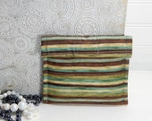 Jewelry travel case Mini, small earring pouch, Brown tan aqua stripes