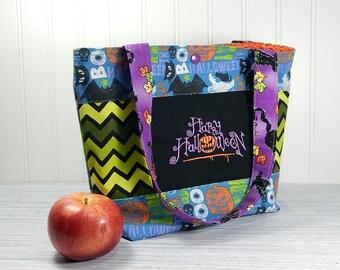 Small Halloween Bag, tote bag, handbag, purse, trick or treat bag, halloween print bag, embroidered design, trick or treat tote