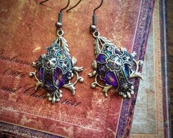 Purple Medieval Cross Earrings