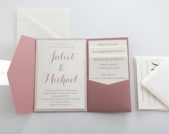 Dusty Rose Pocketfold Invitation Set - Classic Elegant Script