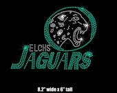 Reserved - 4 Custom East Lake Jaguars TEAL(blue zircon) /crystal clear iron on rhinestone transfers