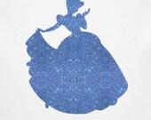 Cinderella silhouette iron on glitter Disney transfer patch DIY applique