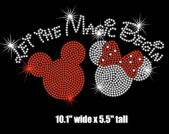"""10.1"""" wide Minnie Mickey Mouse Let the Magic Begin iron on rhinestone TRANSFER"""