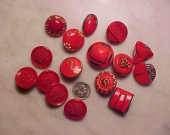 Lot Vintage GLASS Buttons Lipstick RED One with Gold ? Mark on it, Art Decos/Sewing,Craft/Collectors