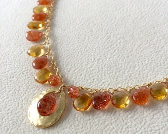 Orange Sunstone Gemstone Necklace in Gold-fill and Citrine with Oval Hammered Frame