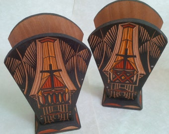 Vintage Toraja Tissue Holder - Hand carved and Hand Painted - Set of 2 - Ethnic - Sulawesi Indonesian Heritage