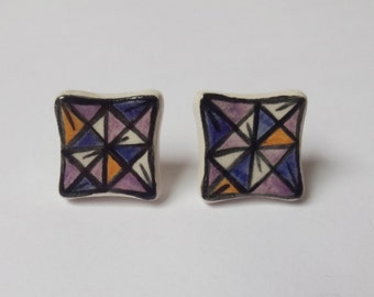Purple, yellow and blue ceramic stud earrings