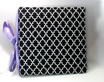 Black  Lattice Quatrefoil Geometric - Recipe Album with 20 personalized recipe cards