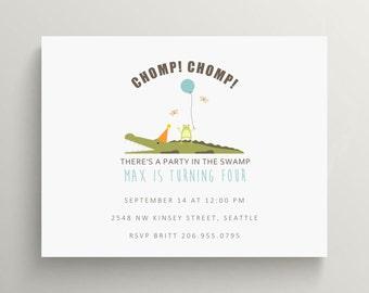 swamp party birthday invitation set // thank you note // baby shower invitation // alligator // frog // crocodile // bayou // gender neutral
