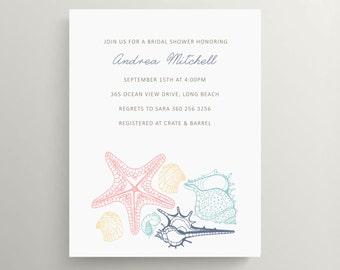 sea shell bridal shower invitation set // engagement invitation // couples shower invitation // starfish // coastal // thank you note
