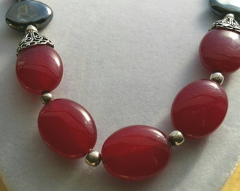 red bead necklace, red and black necklace, handmade necklace, red, silver, black, sterling silver, beaded necklace