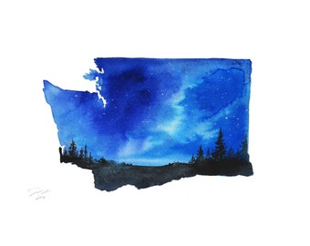 Washington State watercolor print from original by Jessica Durrant
