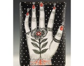 A Hand With Flower - Wall Hanging Ceramic Tile by Jenny Mendes