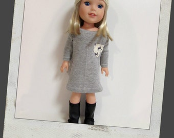Doll Clothes fit dolls like Wellie Wishers-Grey T-Shirt Dress with Kitten Print Pocket, Grey and Ivory Striped Beanie, 123 Mulberry Street