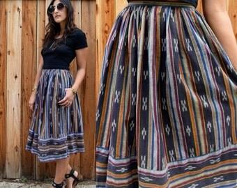 Vintage 80s IKAT INDIAN Cotton High Waist Skirt S