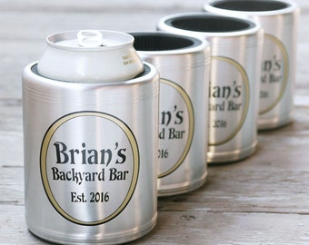 Set of 4 Custom Stainless Steel Beer Can Coolers, Personalized Beer Gift - Insulated Beer Can Hugger for Deck, Patio, Bar & Grill, Pool, BBQ