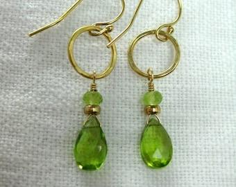 Peridot Briolette Earrings in Gold